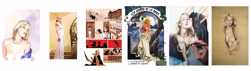 Dessins illustrateurs Brigitte Lahaie les Films de culte gauloise de nuits